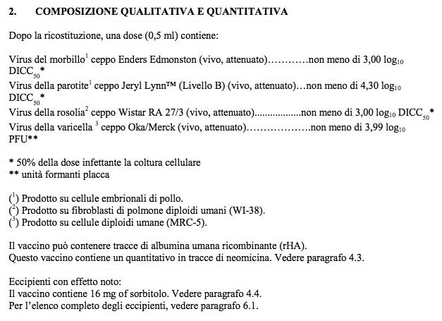 Costituenti Virali e Batterici del ProQuad (MMR e Varicella).
