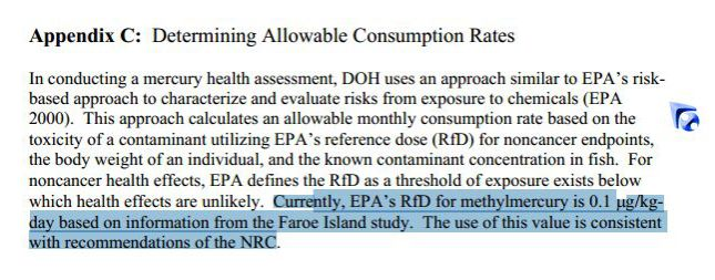 Currently EPA's RID for methilmercury